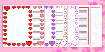 Valentine's Day Page Borders (A4) - Valentine's Day, Valentine, love, Saint Valentine, heart, kiss, page border, border, writing template, writing aid, writing aid, cupid, gift, roses, card, flowers, date, letter, girlfriend, boyfriend, partner