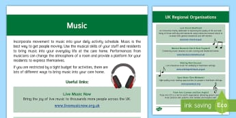 Music Guide - Exercise, Wellbeing, Health, Ideas, Elderly Care, Care Homes, Activity Co-ordinators, Support, Music