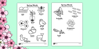 Spring Words Colouring Sheets Romanian Translation - romanian, spring, seasons, colour, weather