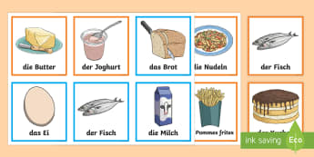 Food Items Matching Cards - German - Food, Essen, German, MFL, Languages