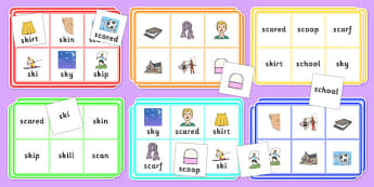 SC, SK Bingo - sc, sk, bingo, activity,  game, sen, sound, syllable
