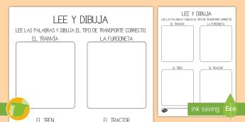 Ficha de actividad: Lee y dibuja - El transporte - lee, dibuja, dibujar, leer, comprensión, lectura, lector, lectora, arte, plástica, transporte, coc