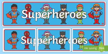 Cute Superhero Display Banner - Superhero Display Banner - Superhero, superheroes, hero, banner, display, A4 display, batman, superm