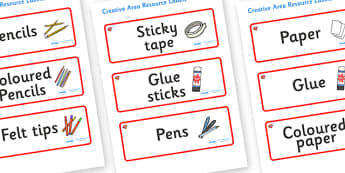 Ruby Red Themed Editable Creative Area Resource Labels - Themed creative resource labels, Label template, Resource Label, Name Labels, Editable Labels, Drawer Labels, KS1 Labels, Foundation Labels, Foundation Stage Labels