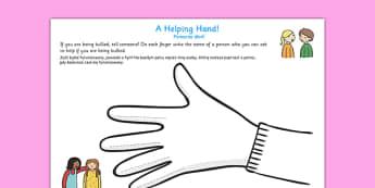 Helping Hand Bullying Worksheet Polish Translation - polish, helping hand, bullying, worksheet