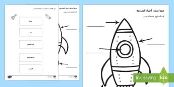 ورقة عمل تسمية أجزاء الصاروخ - سفينة فضاء، مكوك فضاء، صاروخ، ورقة عمل، عربي،شيتات,Arabic