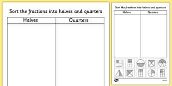 Halves and Quarters Sorting Worksheet - fractions, half, quarter