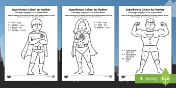 Superheroes Colour by Number English/French - Superheroes Colour by Number - colour, number, superheroes, super, superhereos, coloyur by number, s