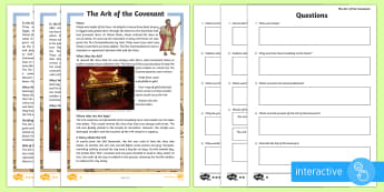 The Ark of the Covenant Differentiated Comprehension Go Respond  Activity Sheets - Retrieve and record information from non-fiction, Draw inferences such as inferring characters' fe