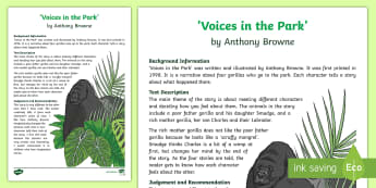 'Voices in the Park' By Anthony Browne Review Writing Sample - Literacy, english, writing, english, writing, 'Voices in the Park' By Anthony Browne Review  Wri