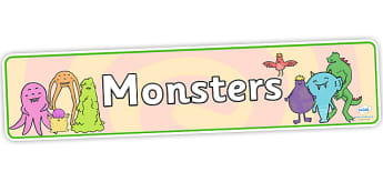 Monsters Display Banner - monsters, display, banner, themed banner, themed header, header, display banner, display header, moster banner, decoration
