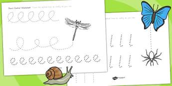 Minibeasts Pencil Control Worksheets - fine motor skills, animals