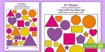 2D Shapes I Spy With My Little Eye Activity English/Polish - 2D Shapes I Spy With My Little Eye Activity - 2d shapes, i spy, i spy with my little eye, eye, activ