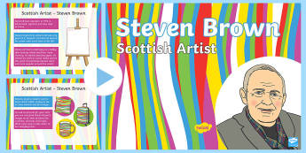 Scottish Artist Steven Brown Information PowerPoint - scots, art, design, abstract, colour, Steve Brown, Highland cows, McCoos, McZoo, coo, ,Scottish