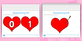 Valentine's Day Hearts and Cupid Arrows Matching Activity (0-10) - Valentine's Day, Valentine, love, Saint Valentine, heart, kiss, cupid, gift, roses, card, flowers, date, letter, girlfriend, boyfriend, partner