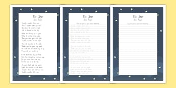 New Zealand The Star Poem Handwriting Practice Activity Sheets, twinkle twinkle, little star, poetry, poems, English, , worksheet