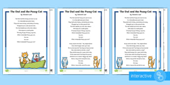 KS1 The Owl and the Pussy-Cat Differentiated Comprehension Go Respond Activity Sheets - Develop pleasure in reading, motivation to read, vocabulary and understanding, Understand what they