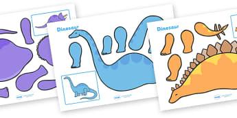Dinosaur Split Pin Characters - education, home school, free