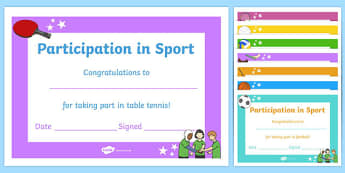 Editable Participation in Sport Certificates - editable, participation in sport, certificates
