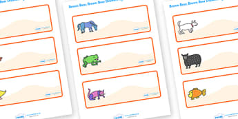 Editable Drawer-Peg-Name Labels (Orange) to Support Teaching on Brown Bear, Brown Bear - Brown Bear, Brown Bear, Bill Martin,  red bird, yellow duck, blue horse, green frog, purple cat, colours, animals, animal names, story, story book, story book re