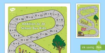 Addition Bus to 30 Board Game  - Addition Bus Board Game - add, adding, games, maths, numeracy, +, adition, numracy, additon, matsh,