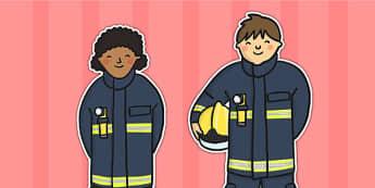 Firefighter Stick Puppets - stick puppet, puppet, role play, fire