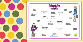 Matilda Word Mat Polish Translation - polish, matilda, roald dahl, key words, word mat