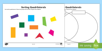Sorting Quadrilaterals Activity Sheet - sorting, sort, venn diagram, quadrilaterals, activity, maths, shapes