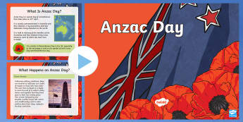 Anzac Day PowerPoint - KS1&KS2 ANZAC day (UK market) April 25th 2017, history, Australia, New Zealand