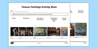 Famous Paintings Matching Activity Sheet - art, appreciation, famous paintings, artists, matching, activity sheet, worksheet