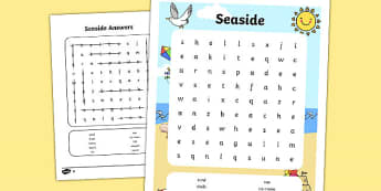Seaside Wordsearch - seaside, at the seaside, beach, at the seaside wordsearch, seaside themed wordsearch, wordsearch, seaside literacy, seaside words
