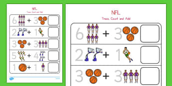 Basketball Themed Trace, Count and Add Worksheet - usa, nba, basketball, national basketball association, trace, count, add, worksheet