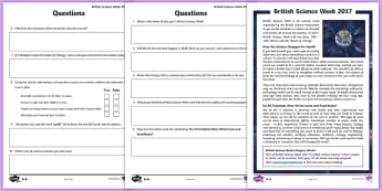 British Science Week 2017 Differentiated Comprehension Go Respond Activity Sheets - science week, science, reading comp, reading comprehension, go respond, interactive, reading test, s