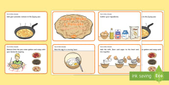 How to make a Pancake Sequencing Cards - CfE, Pancake Day, shrove Tuesday, sequencing, make, recipe, order, sequence, ingredients, ,Scottish