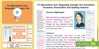 Y2 Information Texts: Biography Model/Example Text - Example Texts Y2, Information Texts, biography, exemplification, WAGOLL, exemplification, moderating, ARE, age-related example, model, model text, age-related model