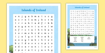 Islands of Ireland Word Search-Irish