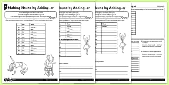 Adding er to words - differentiated activity sheet pack, GPS, spelling, grammar, nouns, verbs, suffixes, er, worksheet