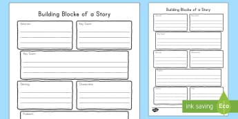 Building Blocks of a Story Graphic Organizer Writing Template - World Book Day, graphic organizer, template, writing, text, fiction, non fiction