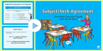 Subject Verb Agreement Grammar Revision Guide and Quick Quiz PowerPoint - English, subject, verb, sentences, grammar, language,Australia