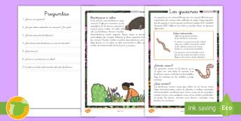 Comprensión lector: Los gusanos - bichos, insectos, lectura, leer, lee, escritura, escribir, 1 primaria, 2 primaria, gusanos, insectos