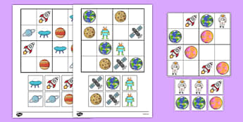 Space Picture Sudoku - maths, numeracy, numbers, topic, space, travel, early years, position, pattern