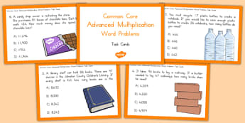 Common Core Advanced Multiplication Word Problem Task Cards - usa, america, US Resources, Common Core, Word Problems, Task Cards, Multiplication, Operations and Algebraic Thinking, OA, 4th, 5th, 6th