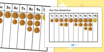 Euro Coin Number Line 1c - 10c - euro, coin, numberline, 1c, 10c