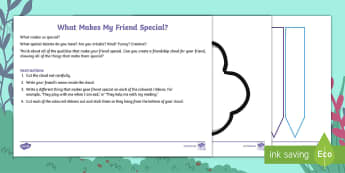 What Makes My Friend Special? Activity Sheet - ronald the rhino, unique, friend, friendship, similar, similarities, different, differences, same, s