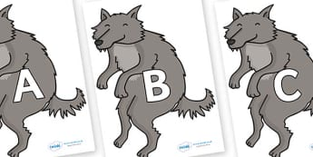 A-Z Alphabet on Wolf - A-Z, A4, display, Alphabet frieze, Display letters, Letter posters, A-Z letters, Alphabet flashcards