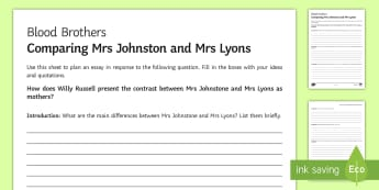Blood Brothers Mrs Johnston and Mrs Lyons LA Essay Plan Activity Sheet