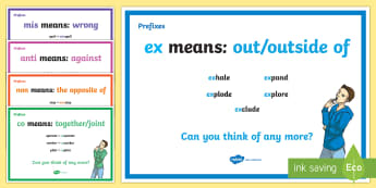 Prefix Display Posters - prefix display posters, display, posters, sign, poster, banner, grammar, beginning, prefic, mis-, anti-, different