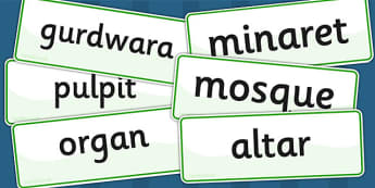Places of Worship Vocabulary Cards - religion, RE, visual aid