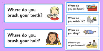 50 Where Question Cards -question words , where vocabulary, quick attention games, quick listening games, starter games