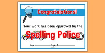 Spelling Police Certificates - spelling police, spell, police, certificates